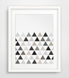 Geometric Print Triangle Print Monochrome by MelindaWoodDesigns #Geometricprint #homedecor