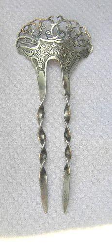 Antique 1898 Art Nouveau Solid Silver Hair Comb
