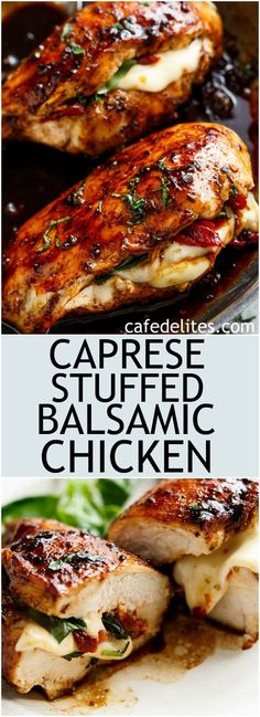 Caprese Stuffed Balsamic Chicken is a twist on Caprese, filled with both fresh AND Sun Dried Tomatoes for a flavour packed chicken! cafedelitescom The post Caprese Stuffed Balsamic Chicken is a twist on Cap… appeared first on Woman Casual - Food and drink Balsamic Chicken Recipes, Caprese Stuffed Balsamic Chicken Recipe, Stuffed Chicken Recipes, Italian Stuffed Chicken, Chicken Stuffed With Mozzarella, Chicken With Balsamic Glaze, Fresh Mozzerella Recipes, Stuffed Chicken Marsala, Chicken And Goat Cheese Recipe