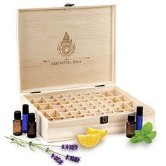 Essential Oil Wooden Box Organizer - Large Wood Storage Case Protects 68 Oils. Holds 15ml Drams & 10ml Roller Bottles Best For Travel & Presentations. Display doTERRA, Young Living, Plant Therapy, Etc