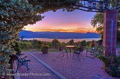 Sunset form the patio at Lang Vineyards, Naramata overlooking Okanagan Lake. Canada Travel, British Columbia, Places To Travel, San Diego, Vineyard, Scenery, Patio, Road Trip, World