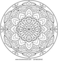 Mandala, adult coloring page. Round element for coloring book. Black and white floral pattern. Vector illustration.