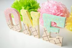 Ice Cream Party Ice Cream Decorations First Birthday Ice Birthday Letters, Birthday Cake Girls, Girl First Birthday, First Birthday Parties, Birthday Party Themes, Baby Birthday, First Birthdays, Birthday Photos, Birthday Gifts