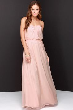 Follow Your Heart Peach Strapless Maxi Dress