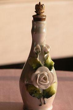 Crown Top Perfume Bottle of Porcelain from Germany with Flowers and Crown Stopper