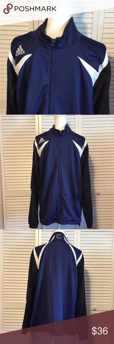 🔥‼️ADIDAS‼️🔥MENS BLUE AND BLACK JACKET Adidas Men's blue, black and white Jacket. Adidas logo on right shoulder. Climacool Material. Men's size Large. Perfect condition. adidas Jackets & Coats