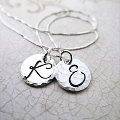 Personalized 2 Disc Necklace  Sterling Silver Initial Jewelry
