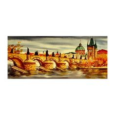 "Original watercolor painting  Vltava river and Charles bridge at autumn  5""x12"" color sepia"