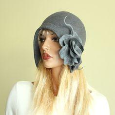 Grau fühlte Hut Felted Hut Filz Mütze Hut Cap Filz von ZiemskaArt