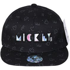 Disney 1928 'Mickey' Holographic Print New Era Style Snapback Hat... (£13) ❤ liked on Polyvore featuring accessories, hats, disney hats, ball caps, snapback hats, snapback baseball caps and print hats