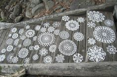 ~white painted doilies on steps - LOVELY