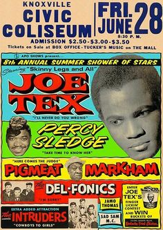 Tour Posters, Music Posters, Band Posters, I Love Music, Kinds Of Music, Concert Signs, Vintage Concert Posters, Vintage Posters, Percy Sledge