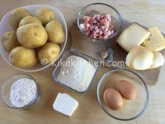 ingredienti crostata di patate Pancetta, Dairy, Cheese, Food, Meals
