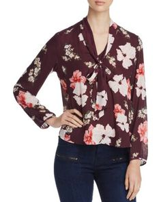 cupcakes and cashmere Lotus Tie Neck Floral Print Blouse | Bloomingdale's