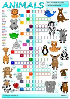 A crossword to practise the names of animals. Students have to match the words to the correct pictures and complete the crossword, then find a secret message. Greyscale and KEY included. Have fun mada :) - ESL worksheets English Games, Kids English, English Activities, English Lessons, Learn English, Animal Worksheets, Animal Activities, Printable Worksheets, Ingles Kids