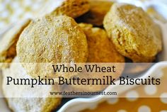 Perfect for fall, these pumpkin buttermilk biscuits are made with whole wheat flour and are a SNAP to make!  |  Feathers in Our Nest