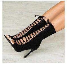 Crisscross Strappy Fashion Women Peep Toe High Heels Shoes from Eoooh❣❣ - Women Shoes Black Heel Boots, Black High Heels, High Heels Stilettos, Platform Stilettos, Very High Heels, Black Platform, Long Heel Boots, High Heels For Women, Ankle Heel Boots