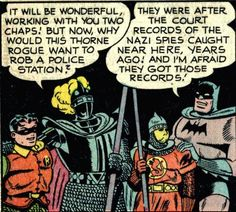 BAT FAMILY - KNIGHT AND THE SQUIRE: Inspired by both Batman and the famed Knights of the Round Table, Percy Sheldrake and his son, Cyril, become England's version of the Dynamic Duo when they take on the mantles of The Knight and his sidekick, The Squire. The Knight later becomes a member of the Batmen of All Nations before being murdered by Spring Heeled Jack. Since his death, Cyril has assumed the identity of The Knight.