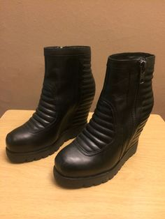 """ASH """"Terrible"""" Boots - Brand New - Size 36 - Black Leather - Wedge - Moto  #Ash #FashionAnkle"""