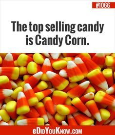 Top selling candy is candy corn True Facts, Weird Facts, Good To Know, Did You Know, Halloween Week, Candy Corn, Interesting Facts, Trivia, Home Remedies