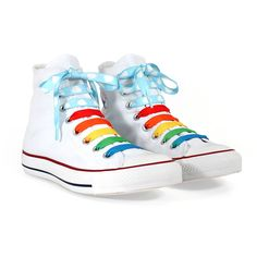 Give your boring old shoes a makeover with these unbelievably cute Rainbow Crazy Laces. Get rid of your grubby white laces and count the colours of the rainbow instead! Rainbow Laces, Chicago Store, Baskets, Old Shoes, Lace Design, Walk On, Discount Designer, Converse Chuck Taylor, Fashion Brands