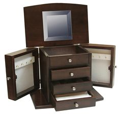 Amish 4 Drawer Jewelry Chest with Round Front Lid & Base
