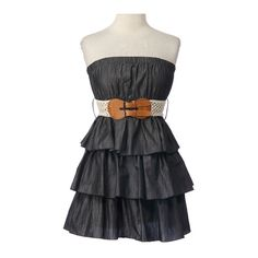 Chambray Tiered Dress with Belt..This dress would be so perfect with Cowgirl boots for a BM Dress