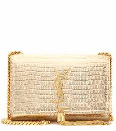 Classic Monogram embossed leather shoulder bag   #SaintLaurent