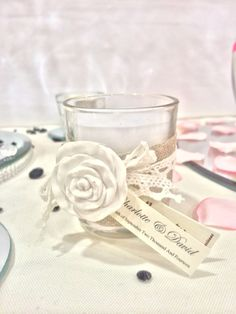Favour ideas by Made Marvellous  Scented voltive candle with tag