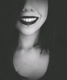 Imagem de piercing, smile, and black