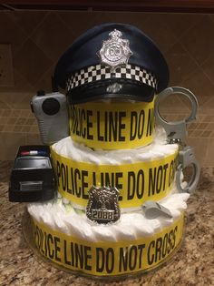 Police themed Diaper Cake...another pic of Baby Romano's themed diaper cake, came out GREAT!