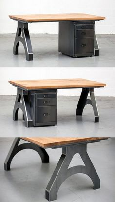 The Wordsmiths Desk - distinct industrial design crafted with oak and steel. Steel Vintage offers a huge range of sizes and styles for the unique aesthetic that you're looking for.