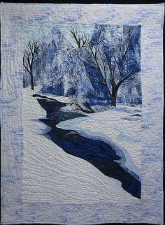 "Winter In The Gap by Pamela Druhen Fiber - Pieced ~ 51"" x 38"""