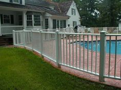 Aluminum Pool Fence - White looks nicer than the black plain fences for pools.