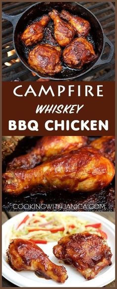 Don't rough it while camping, make this mouth water Campfire Whiskey BBQ Chicken recipe. Make the sauce ahead at home for a hassle free camp… (Bbq Chicken Legs) Oven Recipes, Grilling Recipes, Cooking Recipes, Healthy Recipes, Healthy Meals, Healthy Food, Cooking Ideas, Delicious Recipes, Tasty