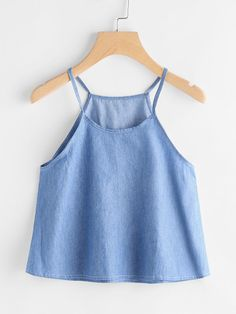 SheIn offers Chambray Cami Top & more to fit your fashionable needs. Fashion Tips For Girls, Teen Fashion, Fashion Clothes, Fashion Outfits, Winter Fashion, Crop Top Outfits, Crop Top Shirts, Cami Tops, Casual Dresses