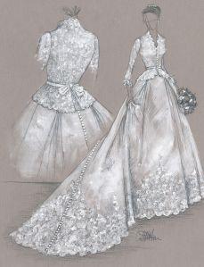 Wedding dress sketch by Colette Komm -  Couture Brides