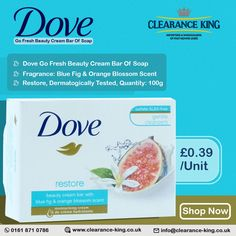 Dove Go Fresh Beauty Cream Bar Of Soap Price : £0.39/Unit Minimum Quantity : 48 Units For Order, Call at 0161 871 0786 #DoveSoap #BuyDoveSoap #WholesaleDoveSoap #BeautyProducts #SkincareProducts #BeautyCreambar #PoundShop #WholesaleSuppliers Dove Go Fresh, Dove Soap, Beauty Cream, Household Products, Orange Blossom, Bar Soap, Cleanser, Fragrance, The Unit