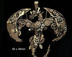 dragón collar de bronce de cobre amarillo blanco por MirellaFactory
