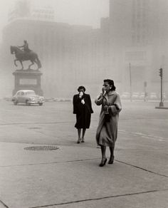 "Pictured here are two women caught in a dust cloud in 1950s Mexico City. This work — on view in ""Portraits and Other Likenesses"" beginning May 8th! — is technically a documentary-style street photograph, but there's something about it that feels like portraiture. Is this a portrait of a natural phenomenon, a portrait of two women, a portrait of Mexico City in the 50s? ‪ #PortraitsRedefined [Rodrigo Moya, ""Polvareda, Ciudad de México (Dust Cloud, Mexico City)"" (1958)]"
