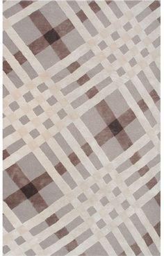 Rug Market Ecconox 72385 Brit Plaid Brown/Ivory/Beige Closeout Area Rug
