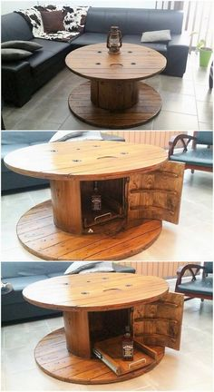 Easiest and Cheap Shipping Wood Pallet Repurposing Ideas Pallet and Cable Reel Round Table with Storage Wooden Pallet Furniture, Rustic Furniture, Wood Pallets, Diy Furniture, Pallet Wood, Wood Spool Tables, Cable Spool Tables, Cable Spool Ideas, Cable Drum Table