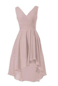 DaisyFormals Short High-Low Formal Dress V-Neck Chiffon Bridesmaid Dress(BM2422)- Dusty Rose