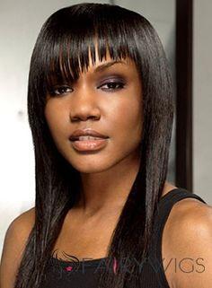 Modern Medium Straight Sepia African American Wigs for Women