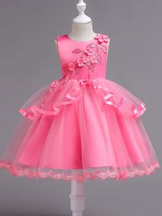 Lilybridalshop In Stock Fantastic Tulle & Satin Jewel Neckline Ball Gown Flower Girl Dress With Lace Flowers & Handmade Flowers Baby Girl Party Dresses, Dresses Kids Girl, Birthday Dresses, Baby Dress, Kids Outfits, Flower Girl Dresses, Mid Dress, Kids Frocks, Pretty Dresses