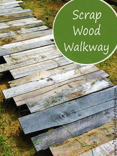 Create this simple scrap wood walkway in your yard. It's a beautiful rustic touch for any outdoor space. www.TheRefurbishedHome.com