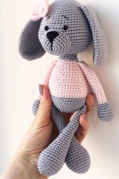 Amigurumi dog pattern to crochet for FREE. The height of finished amigurumi dog is about 25 cm You'll need ALIZE Bahar yarn and mm crochet hook. Crochet Bow Pattern, Crochet Amigurumi Free Patterns, Plush Pattern, Dog Pattern, Crochet Animal Amigurumi, Crochet Baby Toys, Crochet Gratis, Free Crochet, Stuffed Animal Patterns