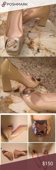 PRADA peep toe pumps Classic PRADA pumps. Nude patent leather with silver buckle at the toe. Price reflects minor scuffing. Prada Shoes Heels