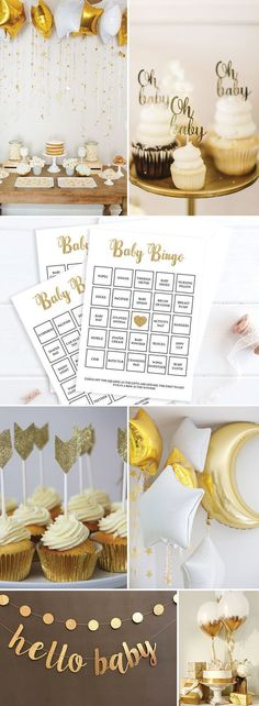 Gold Baby Shower Ideas by LittleSizzle. Twinkle Twinkle Little Star Gender Neutral. Printable Baby Bingo Game for large groups. The set has everything you need to play Baby Bingo in multiple ways. A blank card to be filled out by your guests, 30 pre-filled cards to make things easy and an editable PDF template for you to fill out with your own gift ideas or if you have more than 30 guests! #babyshowergamesforlargegroups