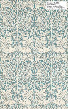 William Morris Brother Rabbit Full Width Cream on Grey-Blue WP 2720-03